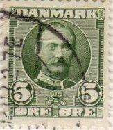 5 øres frimærke udgivet i årene fra 1907 til 1913