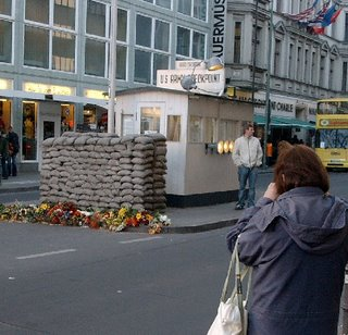 Jeanette at Check Point Charlie in Berlin 2004
