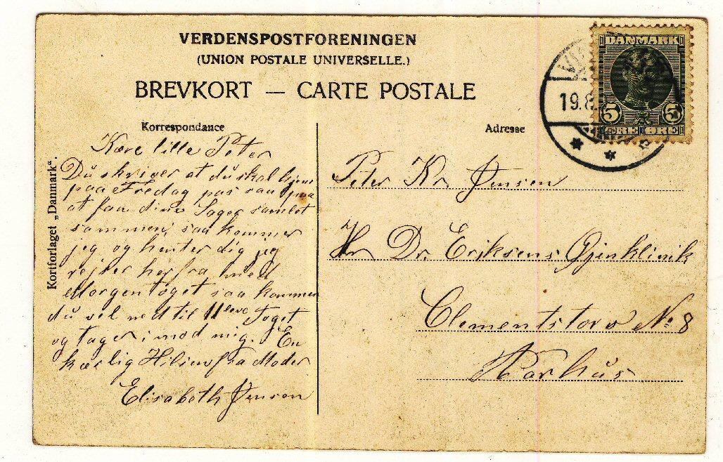 Oldemor Elisabeth skriver til sin søn min oldefar Peter Kristian Jensen